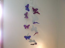 Blues Purples browns Glitter Feather Butterfly Garland Plastic Line image 8