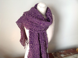 Boho Style Purple and Pink Scarf with Dots image 3