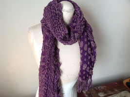 Boho Style Purple and Pink Scarf with Dots image 5