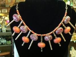 Brand new designer orange with red grey gold accents statement bib necklace image 2