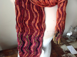 Bohemian Style Scarf in Orange Red Black Shades Stretchy image 3