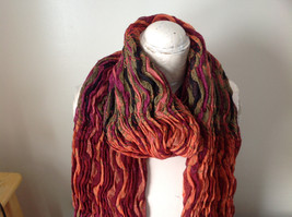 Bohemian Style Scarf in Orange Red Black Shades Stretchy image 5