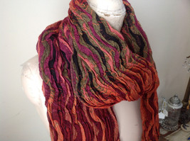 Bohemian Style Scarf in Orange Red Black Shades Stretchy image 2