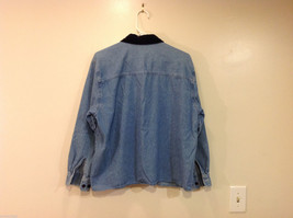 Bobbie Brooks Holiday Snowman Embroidery Blue Jeans Shirt Top Size 14W/16W image 2