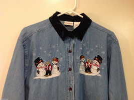 Bobbie Brooks Holiday Snowman Embroidery Blue Jeans Shirt Top Size 14W/16W image 3