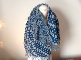 Boho Style Teal Color Scarf with Dots image 4