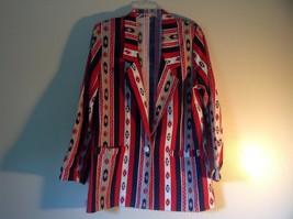 BonWorth Red White Blue Graphic Long Sleeve Blazer Size M One Button Closure image 3