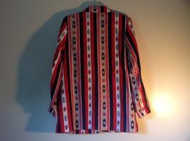 BonWorth Red White Blue Graphic Long Sleeve Blazer Size M One Button Closure image 4