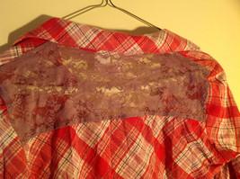 Bongo Red Plaid Button Purple Lace Upper Back Shirt V-Neckline Size Large image 5