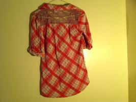 Bongo Red Plaid Button Purple Lace Upper Back Shirt V-Neckline Size Large image 7