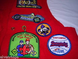 Boy Scout red vest with attached badges Webelos image 3