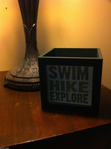 Box night light for candle or electric lamp Hike Swim Explore  image 2