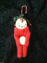 Box of 6 Cute Little Snowmen in Red Knit Sweaters - Christmas Ornaments image 5
