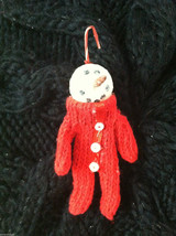 Box of 6 Cute Little Snowmen in Red Knit Sweaters - Christmas Ornaments image 3