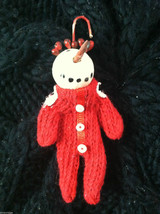Box of 6 Cute Little Snowmen in Red Knit Sweaters - Christmas Ornaments image 4