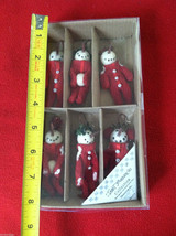 Box of 6 Cute Little Snowmen in Red Knit Sweaters - Christmas Ornaments image 9