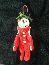 Box of 6 Cute Little Snowmen in Red Knit Sweaters - Christmas Ornaments image 8