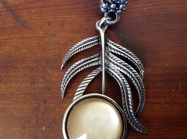 Branch Leaf with Stone Silver Tone Scarf Pendant by The Magic Scarf Company image 2