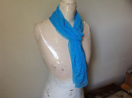 Bright Blue Sheer Shiny Material Fashion Scarf Light Weight Material NO TAGS image 2