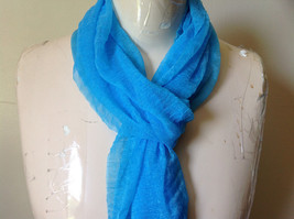 Bright Blue Sheer Shiny Material Fashion Scarf Light Weight Material NO TAGS image 3