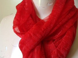 Bright Red Sheer Shiny Material Fashion Scarf Light Weight Material NO TAGS image 6