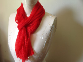 Bright Red Sheer Shiny Material Fashion Scarf Light Weight Material NO TAGS image 4