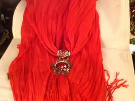 Bright orange red silk cotton blend luxury scarf w dragonfly cyrstals  pendant image 4