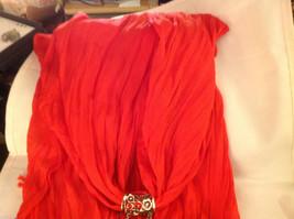 Bright orange red silk cotton blend luxury scarf w dragonfly cyrstals  pendant image 5
