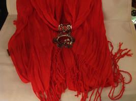 Bright orange red silk cotton blend luxury scarf w dragonfly cyrstals  pendant image 7