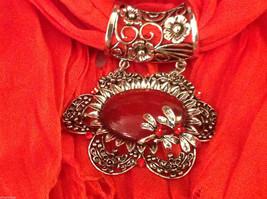 Bright orange red silk cotton blend luxury scarf w dragonfly cyrstals  pendant image 6