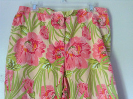Bright Tropical Casual Pants Valerie Stevens Pink Green Flowers Capris Size 18W image 2