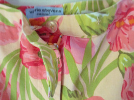 Bright Tropical Casual Pants Valerie Stevens Pink Green Flowers Capris Size 18W image 6