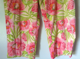 Bright Tropical Casual Pants Valerie Stevens Pink Green Flowers Capris Size 18W image 4