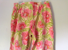 Bright Tropical Casual Pants Valerie Stevens Pink Green Flowers Capris Size 18W image 7