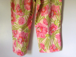 Bright Tropical Casual Pants Valerie Stevens Pink Green Flowers Capris Size 18W image 9