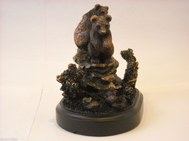Bronzed resin Bear cubs cornered and scared by a squirrel  NEW image 6