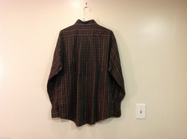 Brooks Brothers Dark Brown Green Hue Plaid Long Sleeve 100% cotton Shirt, Size L image 2