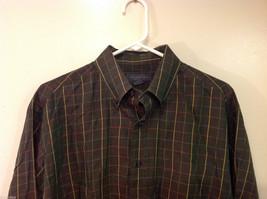 Brooks Brothers Dark Brown Green Hue Plaid Long Sleeve 100% cotton Shirt, Size L image 3