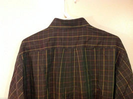 Brooks Brothers Dark Brown Green Hue Plaid Long Sleeve 100% cotton Shirt, Size L image 5
