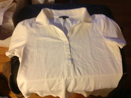 Brooks Brothers Women's White collared crew polo shirt image 3