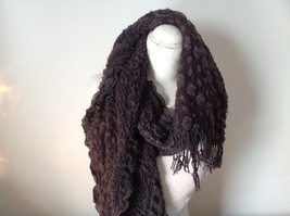 Brown Boho Style Scarf with Dots image 4