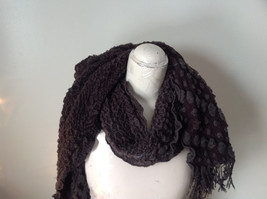 Brown Boho Style Scarf with Dots image 6