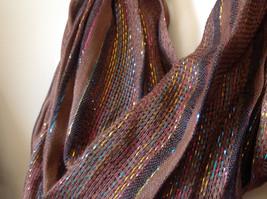 Brown Black Striped Rainbow Metallic Stripes Tasseled Fashion Scarf No Tag image 5