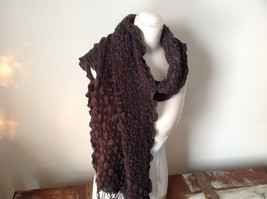 Brown Boho Style Scarf with Dots image 7