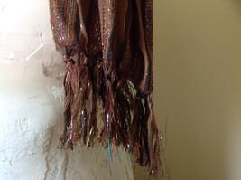 Brown Black Striped Rainbow Metallic Stripes Tasseled Fashion Scarf No Tag image 4