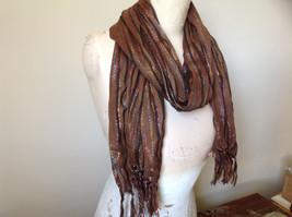 Brown Black Striped Rainbow Metallic Stripes Tasseled Fashion Scarf No Tag image 2