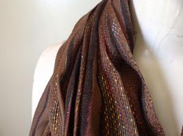 Brown Black Striped Rainbow Metallic Stripes Tasseled Fashion Scarf No Tag image 6