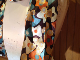 Brown Blue Orange Tan Flowered Fashion Scarf Shiny Silk Like Material NO TAG image 3