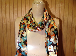 Brown Blue Orange Tan Flowered Fashion Scarf Shiny Silk Like Material NO TAG image 5