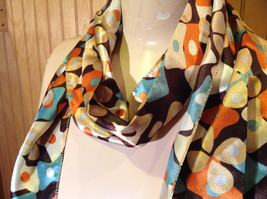 Brown Blue Orange Tan Flowered Fashion Scarf Shiny Silk Like Material NO TAG image 4